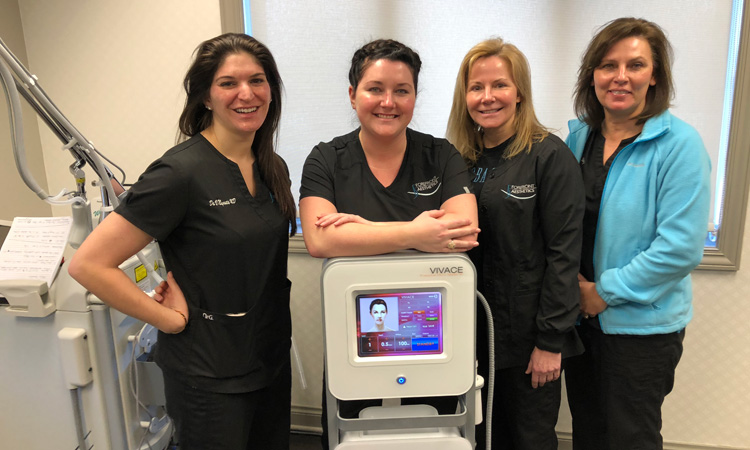 Dr. Negrete and her staff with Vivace® RF Microneedling.
